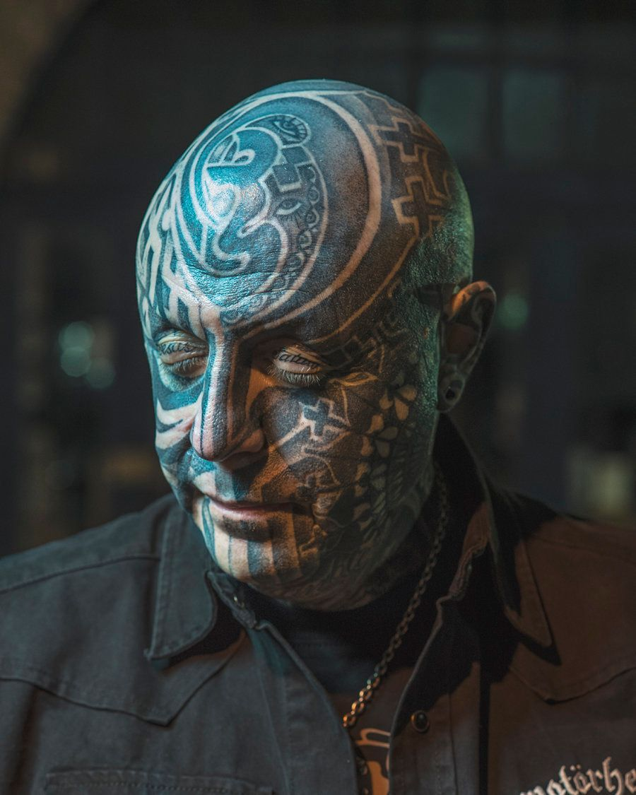 Keith Gordon - Keith, 57 years old and 'the coolest looking guy in Essex', He started getting his face tattooed 3 years ago.