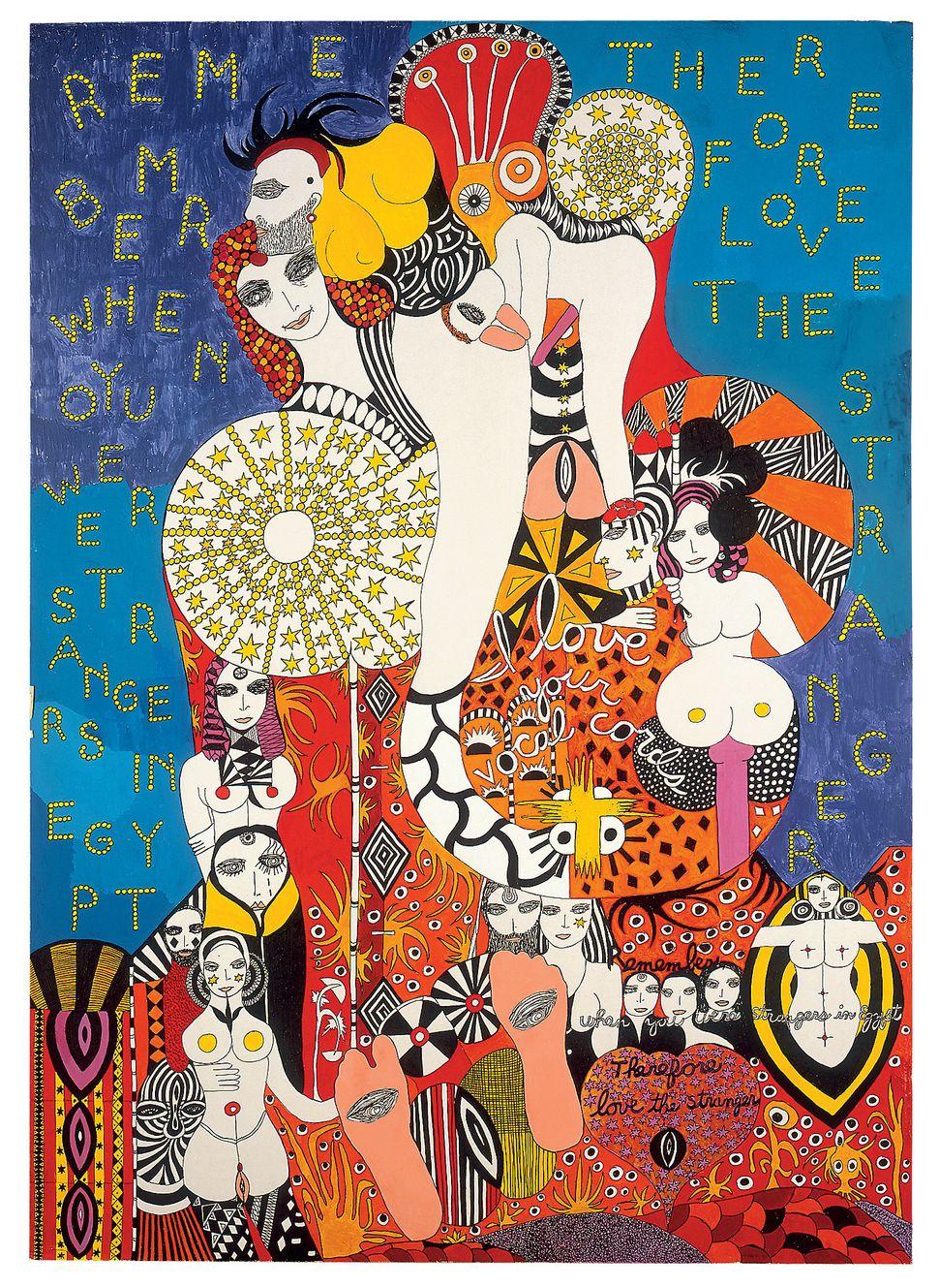 Dorothy Iannone, Love The Stranger, 1981, Privatsammlung Schweiz, © Dorothy Iannone, Foto: Friedrich Rosenstiel