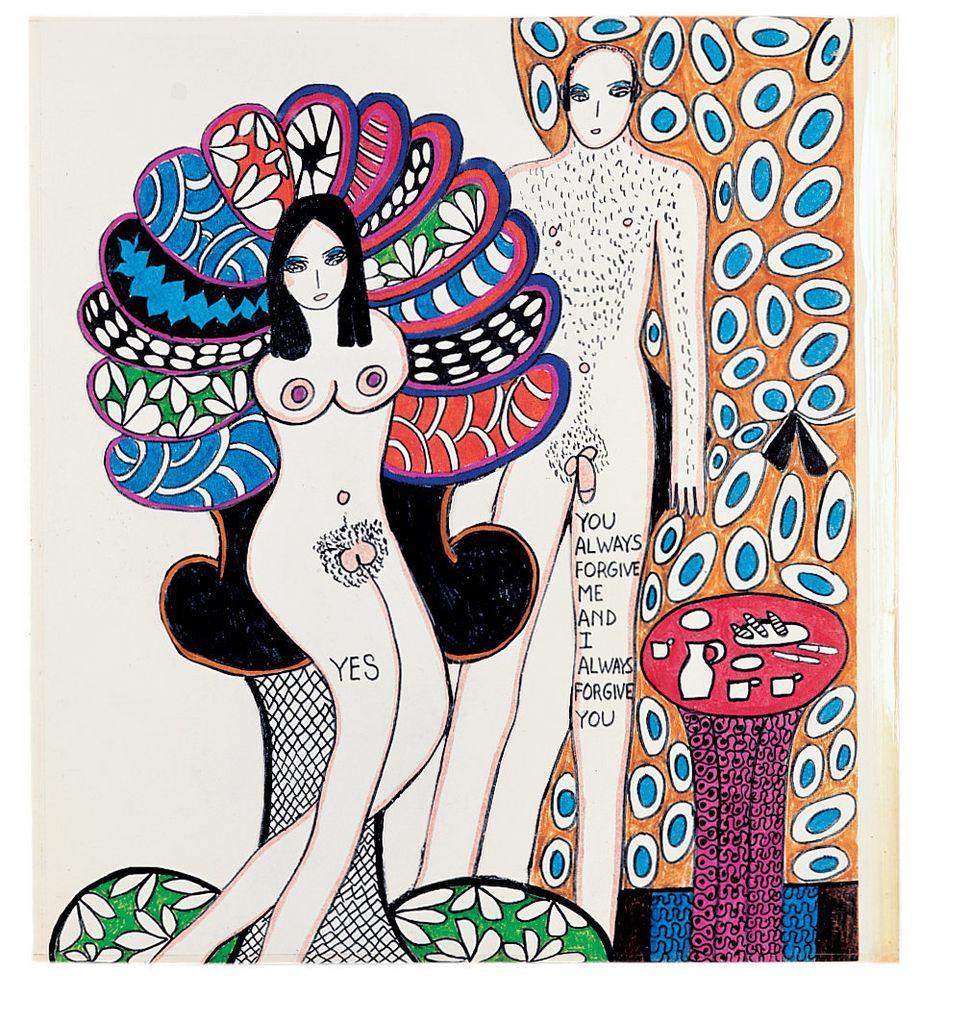 Dorothy Iannone, aus: Dialogues X, 1968/69, Sammlung Aldo Frei, © Dorothy Iannone, Foto: Jochen Littkemann