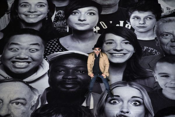 """French photographer JR poses during his exhibition """"Au Pantheon!"""" at the Pantheon in Paris, a secular temple which contains t"""