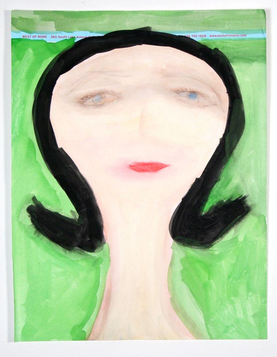 Vaginal Davis, Untitled (Hag), 2012, glycerin, tempera, watercolor, pencil, food coloring, makeup on letterhead