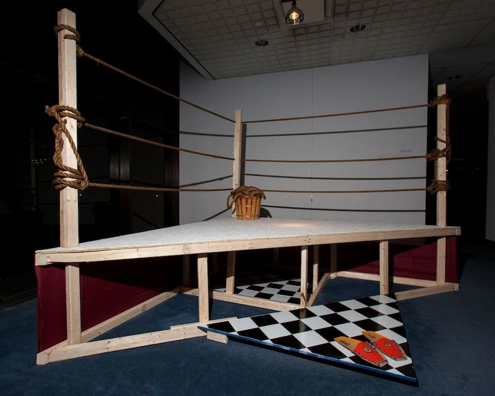 Nyugen Smith  Half the Battles  2014  Wood, rope, fabric, vinyl tiles  NFS