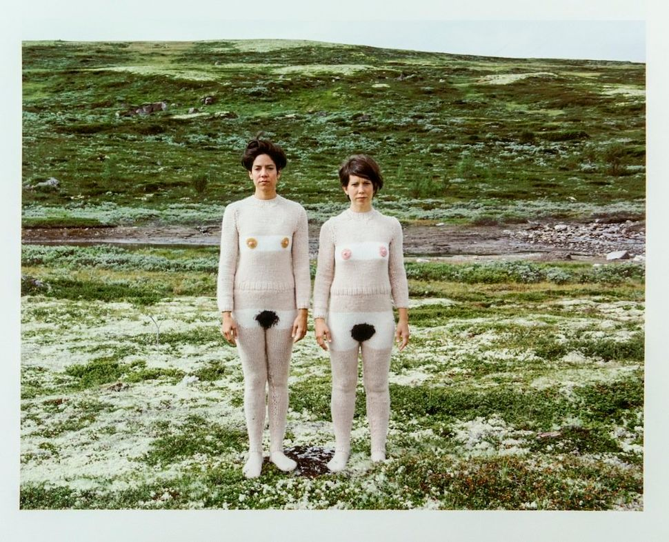 "Made up of Lisa and Janelle Iglesias, the Hermanas Iglesias collaborated with their mother to knit ""Nude Suits,"" reminiscent"