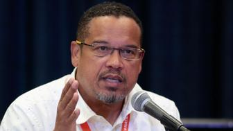 """U.S. Rep. Keith Ellison (D-MN) speaks at breakout session """"From Demonstration to Legislation: How Organizing Will Win Back Progressive Power"""" at the Netroots Nation annual conference for political progressives in Atlanta, Georgia, U.S. August 11, 2017. REUTERS/Christopher Aluka Berry"""