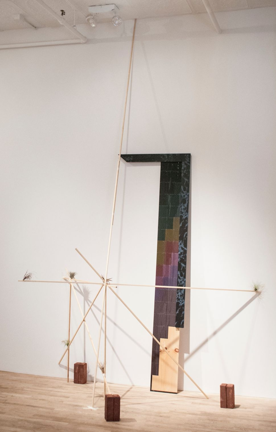 Daria Irincheeva  Evening Composition #017 2014  paint samples, wood, contact paper, brick, glossy  laque, tape, airplants  d
