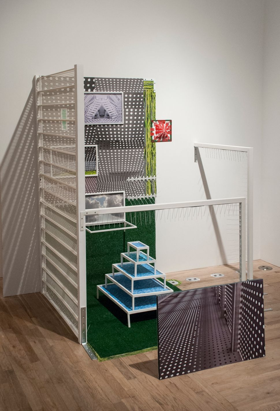 Diana Cooper  Cubicle 2014  mixed media with digital prints  74 x 74 x 70 inches
