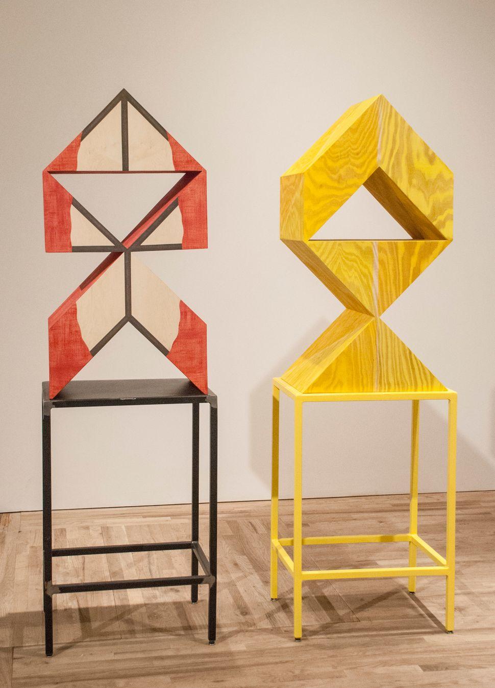 Rachel Beach  Hull 2014  oil, acrylic plywood, metal stand  78 x 24 x 17.5 inches      Demi 2014  oil, acrylic plywood, metal