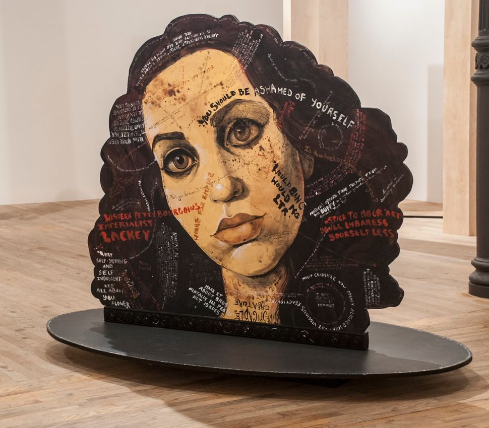 Molly Crabapple  Portraits of myself and Lola Montes  with things said about us by our  contemporaries 2014  acrylic on wood