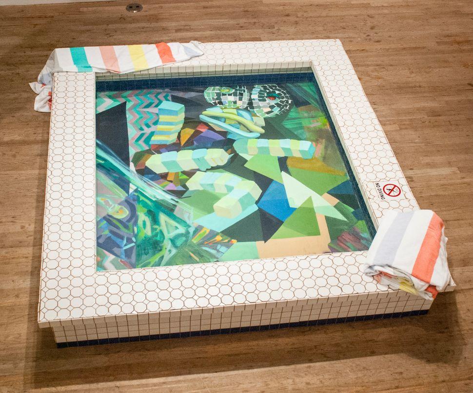 Caitlin Cherry  Mute City, Big Blue, Port Town 2014  swimming pool (wood, ceramic tiles, plexiglass, water,  chlorine) mounte