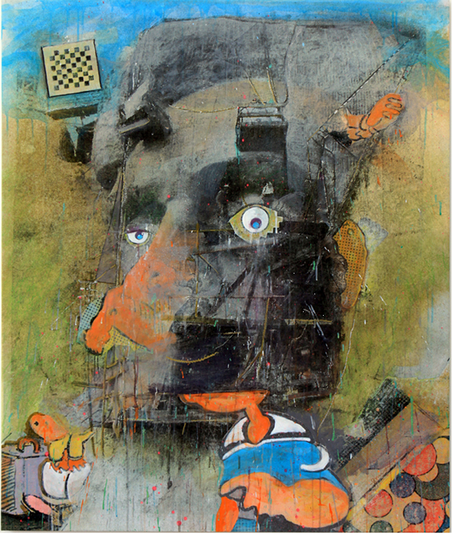Lincoln Blinkin', 2014 Original acrylic with embellishments on canvas with printed background, 42 ½ x 36 in.