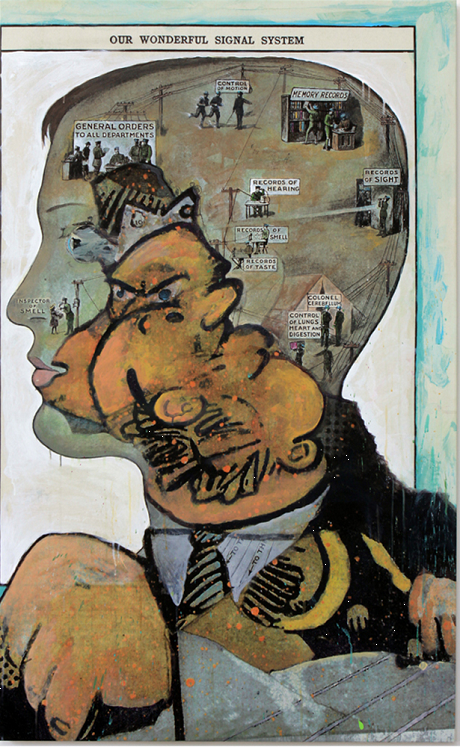 Records of Sight, 2014 Original acrylic with embellishments on canvas with printed background, 60 x 37 in.