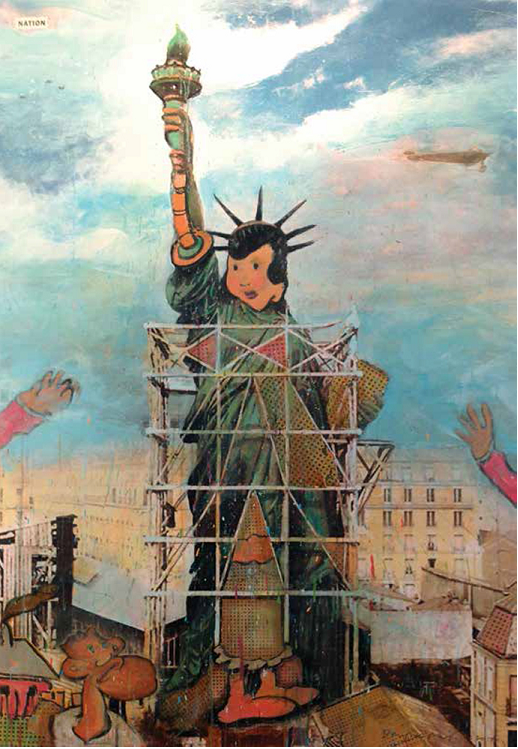 Building Lady Liberty,2014 Original paper collage on museum board, 12 ½ x 8 ½ in.