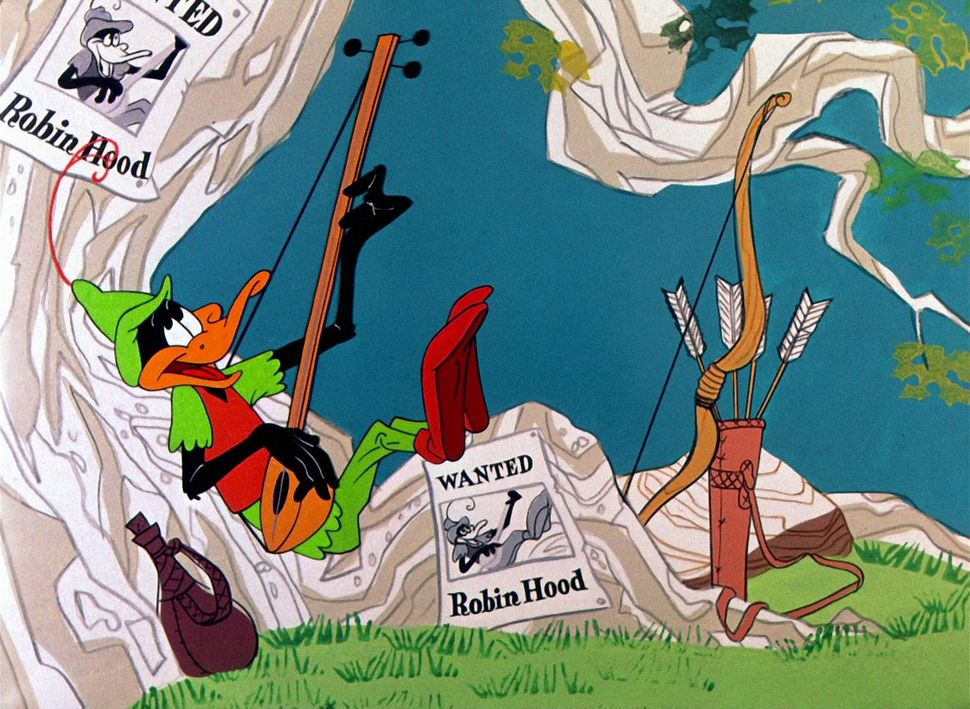 "Frame grab from ""Robin Hood Daffy"" (1958, dir. Chuck Jones), showing Daffy Duck. Credit: Chuck Jones Center for Creativity /"