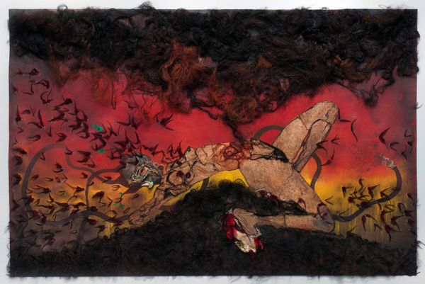"""Wangechi Mutu, The Storm Has Finally Made It Out Of Me Alhamdulillah, 2012. Mixed media collage on linoleum, 73"""" H x 114"""" W x"""