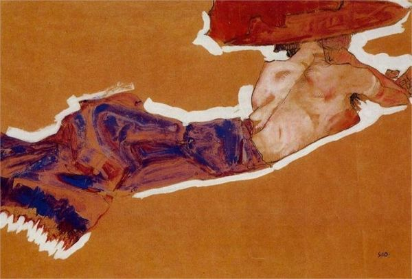 Egon Schiele, Reclining Semi Nude with Red Hat, 1910
