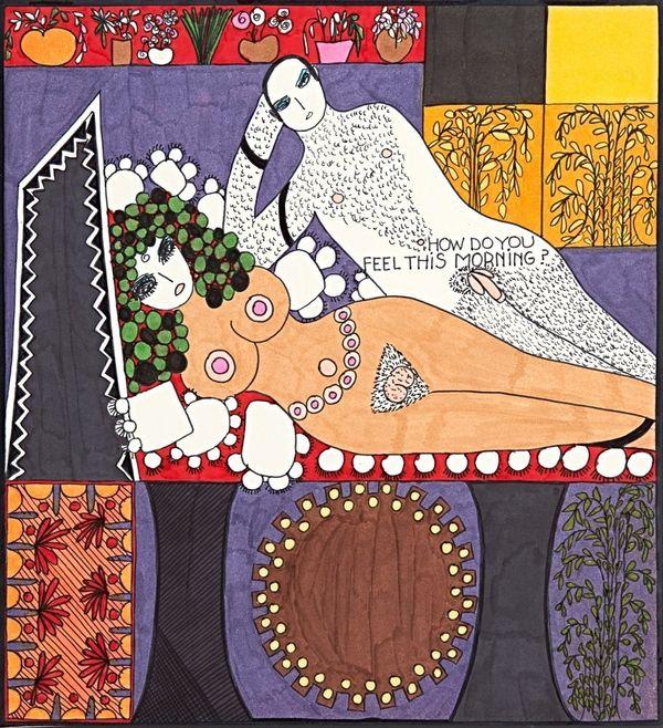 "Dorothy Iannone, aus: Dialogues (unnumbered), 1968, Sammlung Andersch, Neuss, © Dorothy Iannone, <a href=""https://www.huffpos"