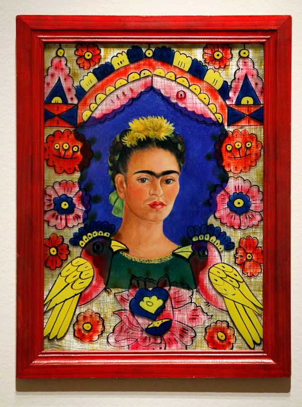 In this photo taken Tuesday, Oct. 9, 2012,  a painting by Frida Kahlo (The Frame, 1938) is seen as part of one of two new exh