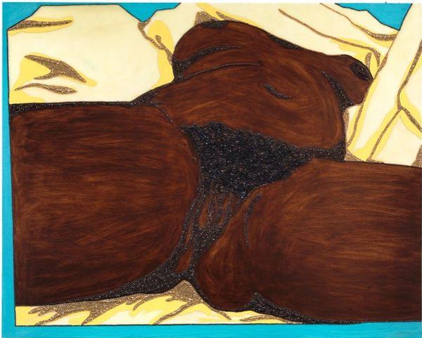 Mickalene Thomas, Origin of the Universe 1, 2012  Rhinestones, acrylic, oil and enamel on wood panel