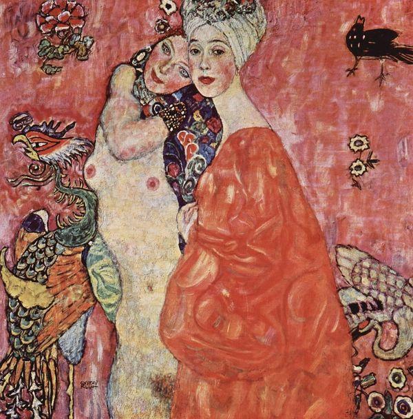 Gustav Klimt, Girlfriends or Two Women Friends, 1916–17, (Galerie Welz, Salzburg, later destroyed)