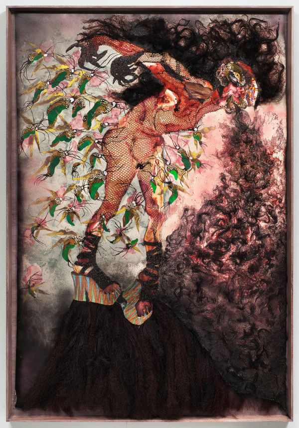 Wengechi Mutu, All the way up, all the way out, 2012.  Collage and mixed media on linoleum, 74 x 50 3/8 inches.  Image courte