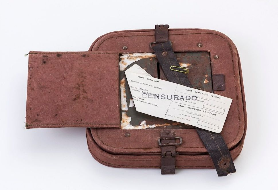 Paulo Bruscky. Luto/Censurado, 1974. Stamped ballot and ballot box, 14.5 x 27 x 4.5 cm. Collection of Lili and João Avelar. P
