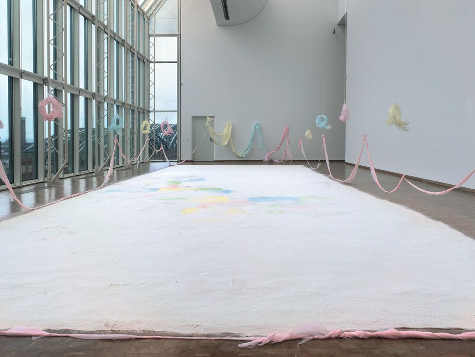 Karla Black, Nature Does The Easiest Thing, 2011 (detail). Plaster powder, powder paint, cellophane, sellotape, paint, polyth