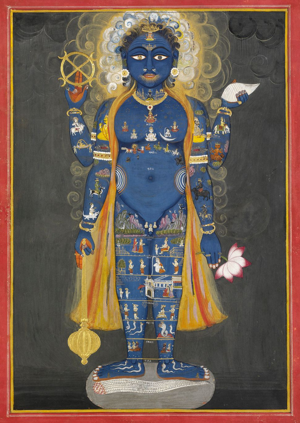 Vishnu Vishvarupa, c. 1800–1820. India, Rajasthan, Jaipur. Opaque watercolor and gold on paper; 38.5 x 28 cm. Victoria and Al