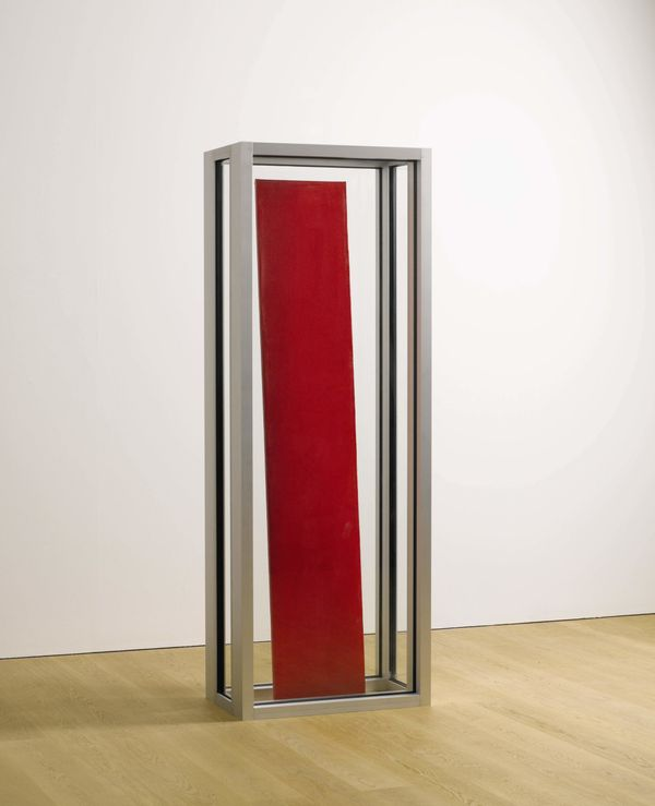 Graham Collins Red Painting 2014 acrylic on canvas, reclaimed wood, glass and aluminum