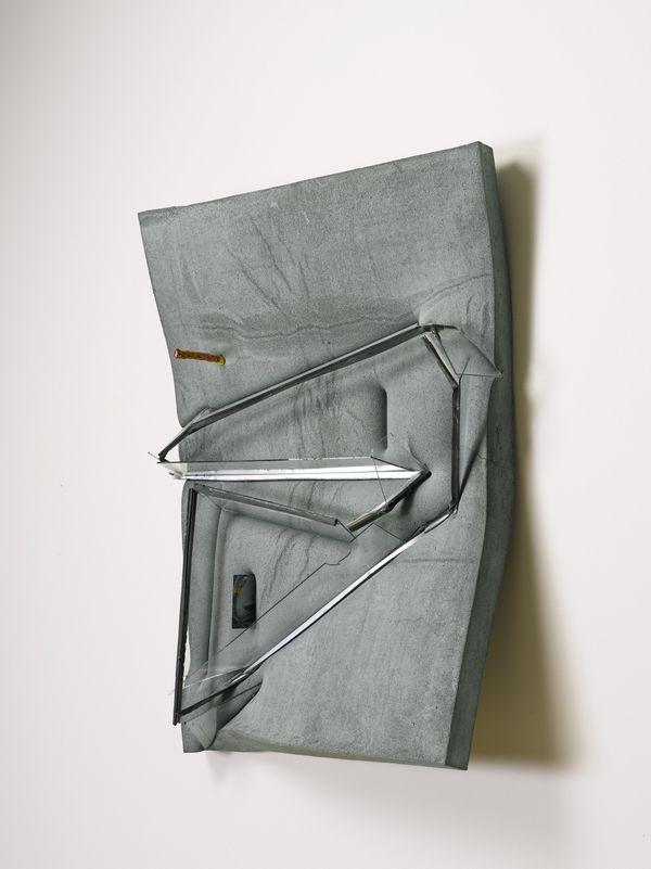 Dave Hardy Untitled (Painting with Storm Window) 2013 cement, dye, polyurethane foam, storm window, pretzel rod, key card and