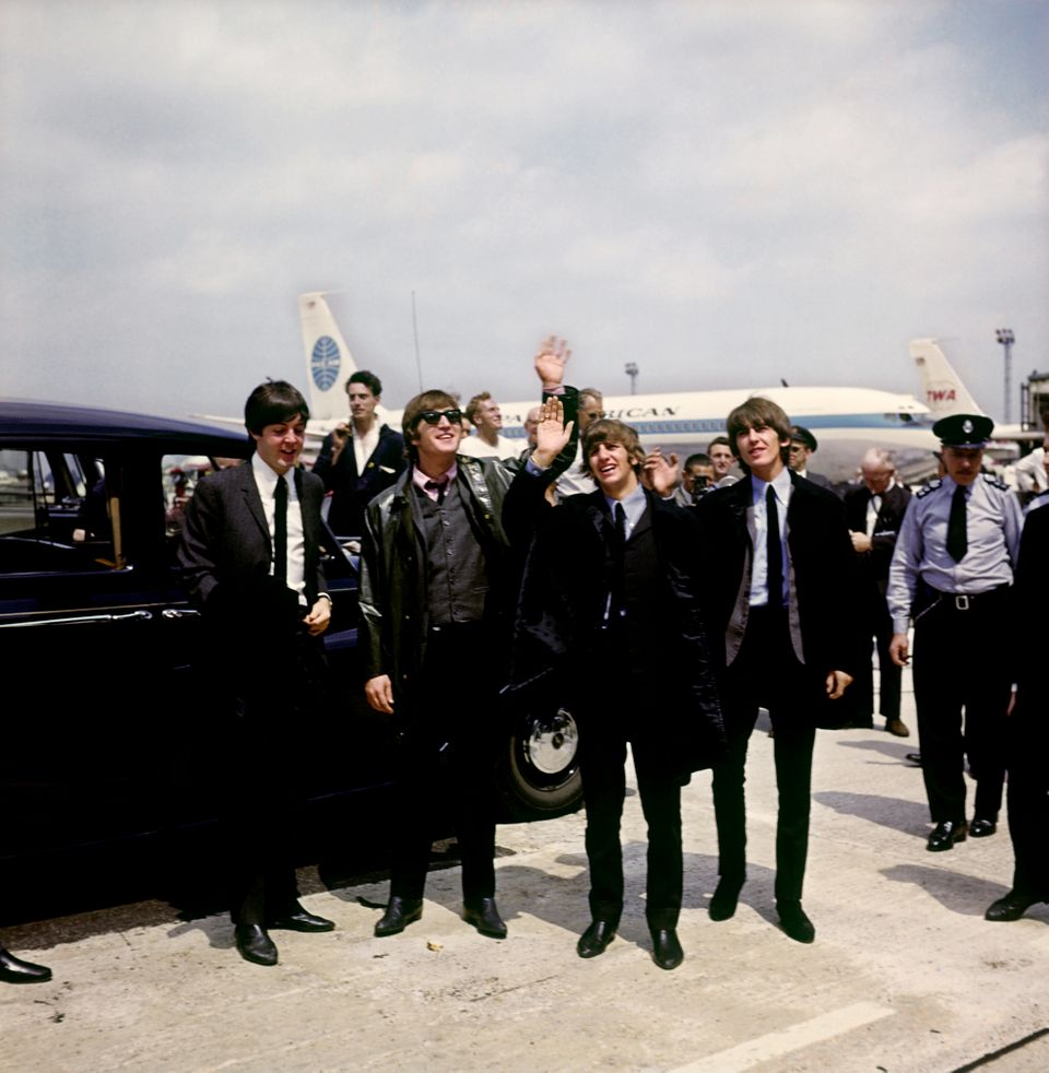 The Beatles arrive at London Airport: (l-r) Paul McCartney, John Lennon, Ringo Starr and George Harrison.