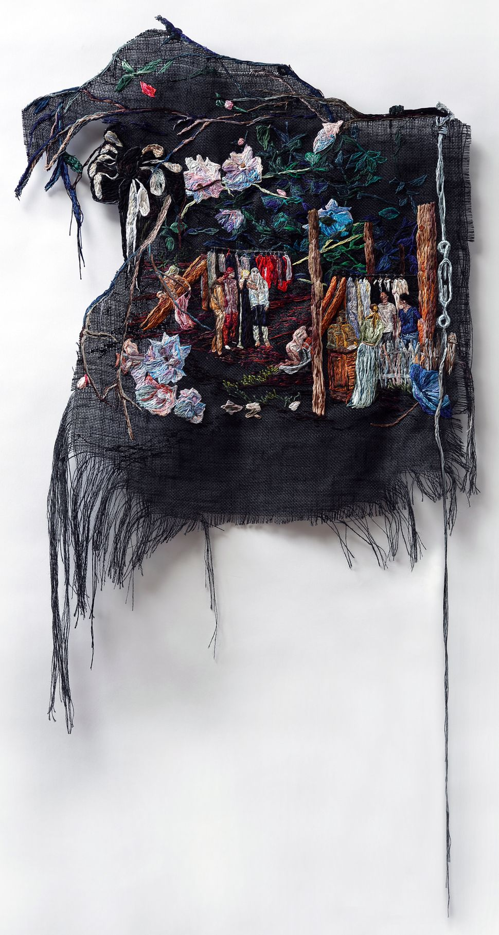 She Whispered and They Tried Things On, 2014, Embroidery Thread and Fabric, 28 x 45 in