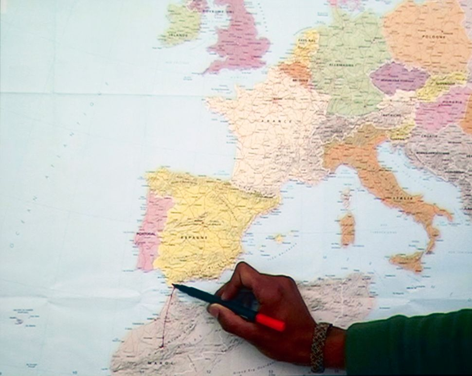 """Bouchra Khalili, Mapping Journey #7, from """"The Mapping Journey Project,"""" 2008–11 (still). Video, color, sound; 6 min. Courtes"""