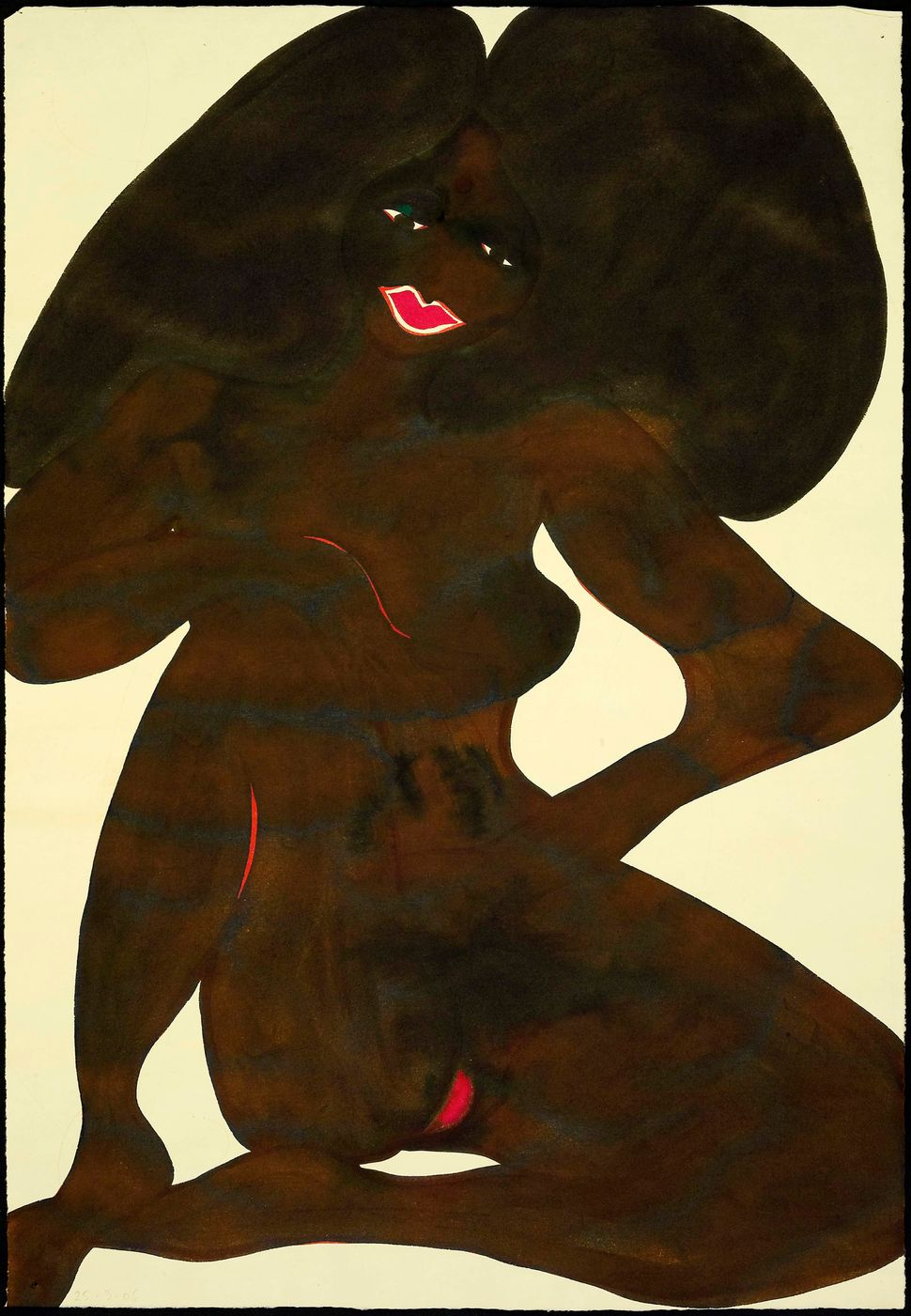 Chris Ofili, Untitled (Afronude), 2006, Watercolour and pencil on paper, 63.5 x 43.2cm, Private collection, London.
