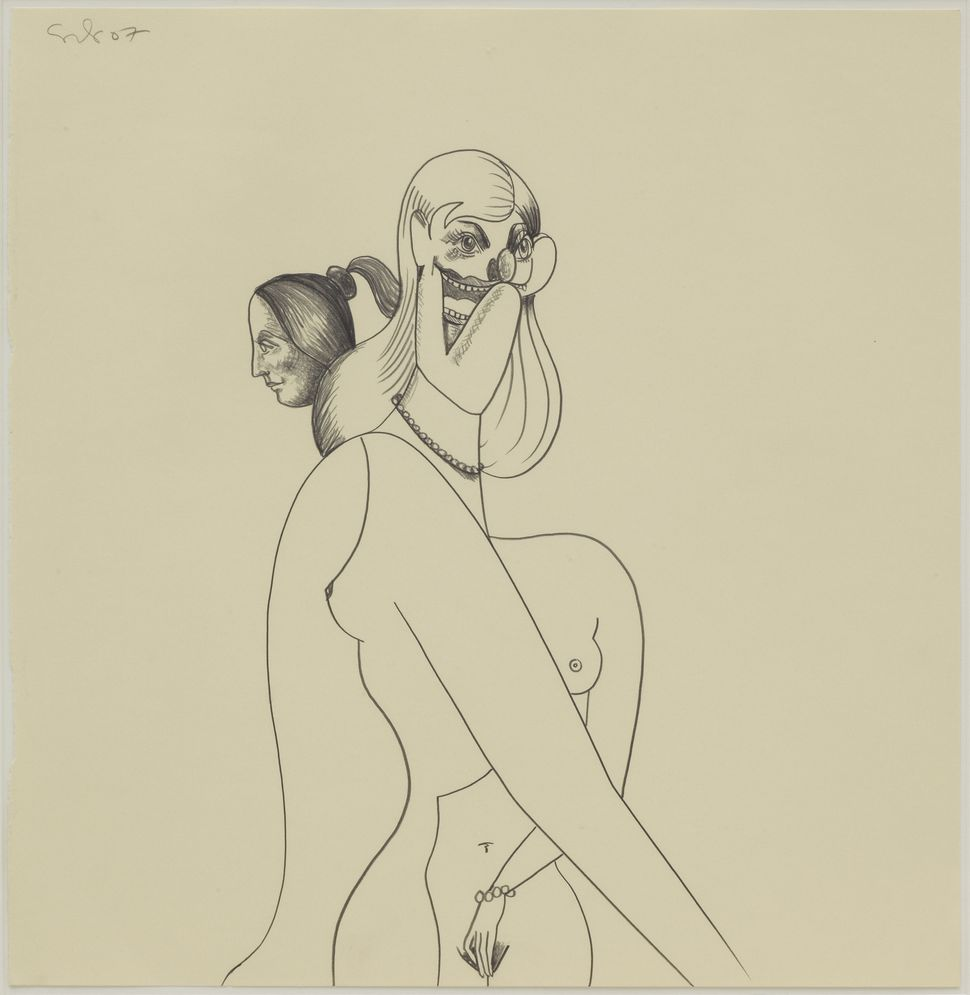 George Condo, Couple, 2007, Pencil on paper, 45.1 x 43.1cm, Courtesy Simon Lee Gallery, London. Private collection, UK.