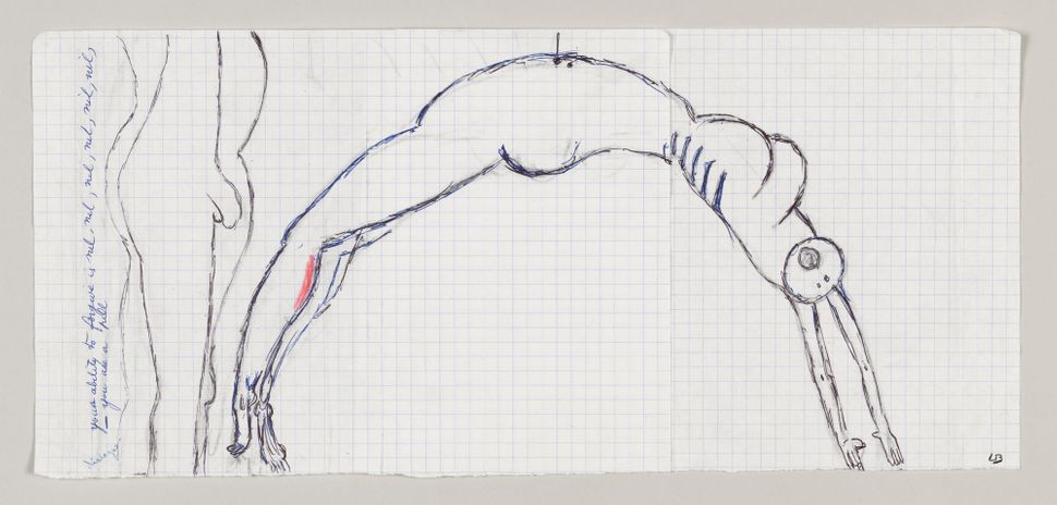 Louise Bourgeois, Arch of Hysteria, 1992, Ink, pencil and crayon on graph paper, 20.3 x 43.2cm, ©The Easton Foundation/ DACS