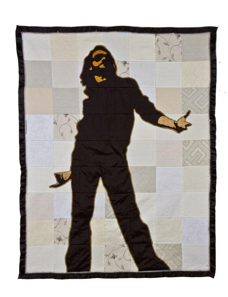 "Luke Haynes, [Friend Portrait #6] Flat Glen, clothes, batting, thread, 70"" x 56"""