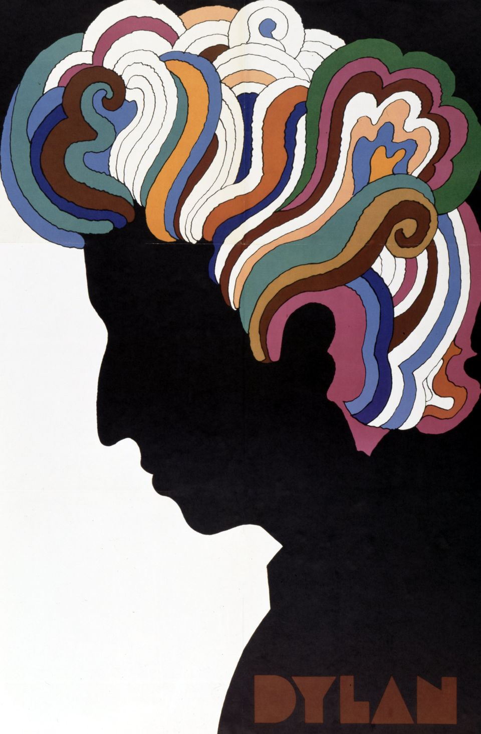 Bob Dylan poster designed by Milton Glaser as an insert to the album 'Bob Dylan's Greatest Hits' which was released on March