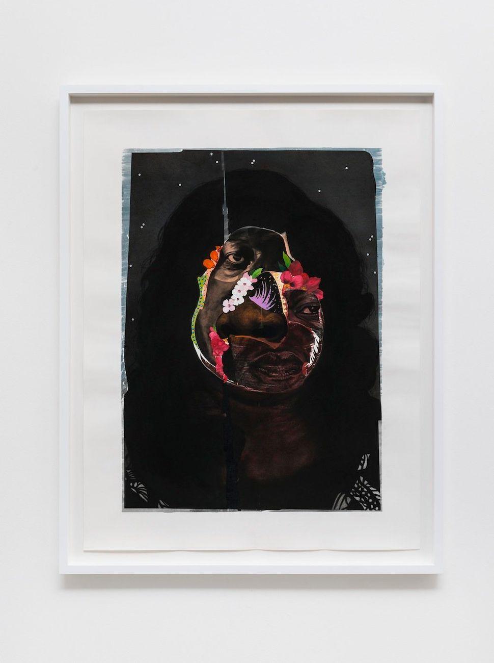 """Flower Face, 2014 black charcoal, oil-pastel, oil-paint, paint-stick, gouache on Lenox Paper 127 cm x 96.5 cm (50"""" x 38"""") © N"""