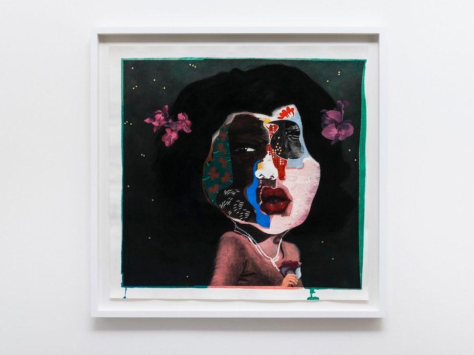 """Diane, 2014 black charcoal, oil-pastel, oil-paint, paint-stick, gouache on Lenox Paper 94 cm x 94 cm (37"""" x 37"""") © Nathaniel"""