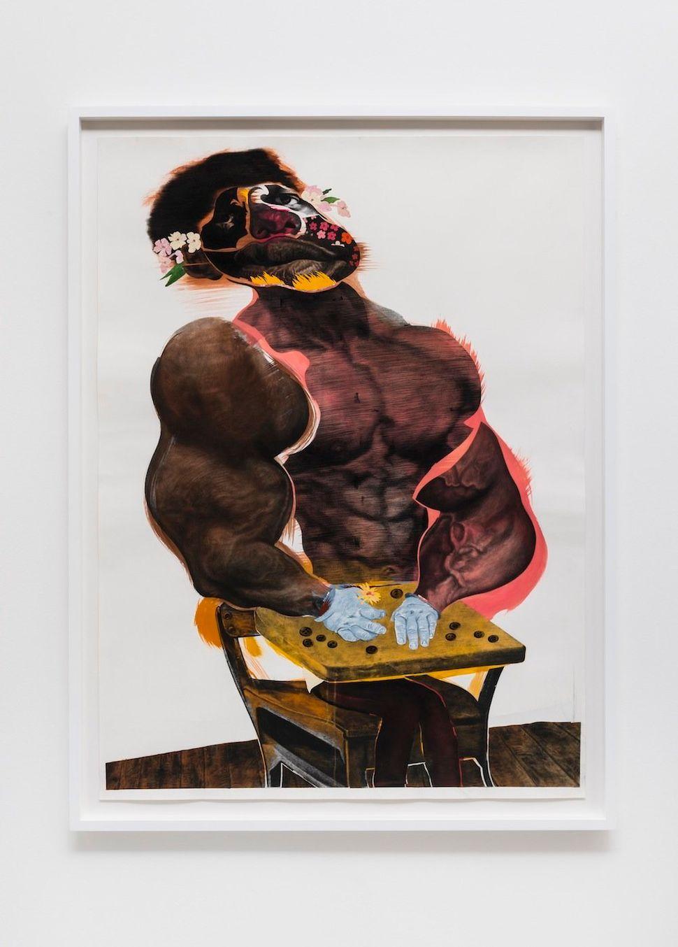 """LaLa, 2014 black charcoal, oil-pastel, oil-paint, paint-stick, gouache on Lenox Paper 152.4 cm x 111.8 cm (60"""" x 44"""") © Natha"""