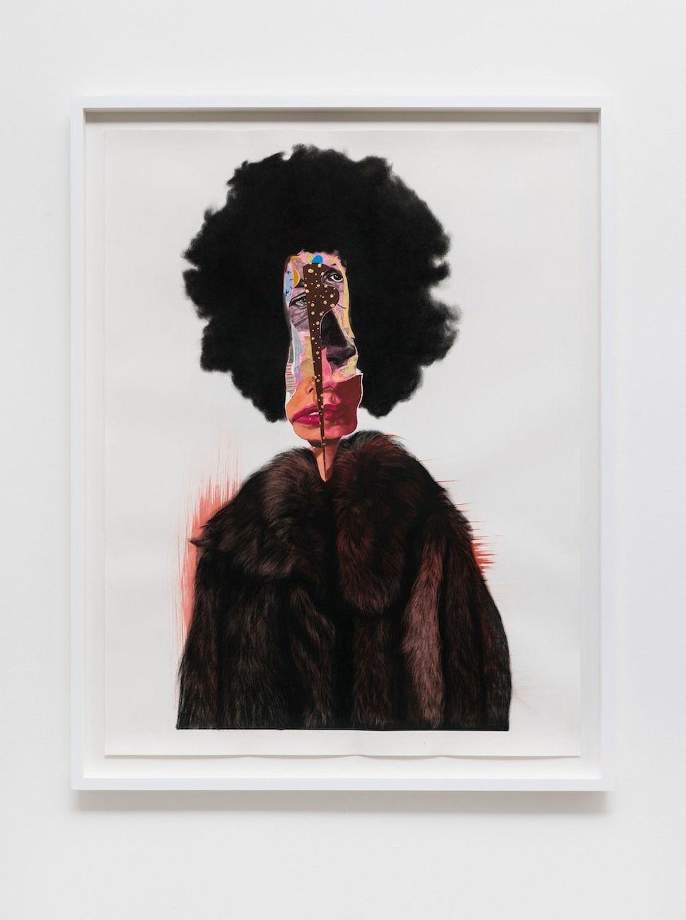 """Slim, 2014 black charcoal, oil-pastel, oil-paint, paint-stick, gouache on Lenox Paper 127 cm x 96.5 cm (50"""" x 38"""") © Nathanie"""