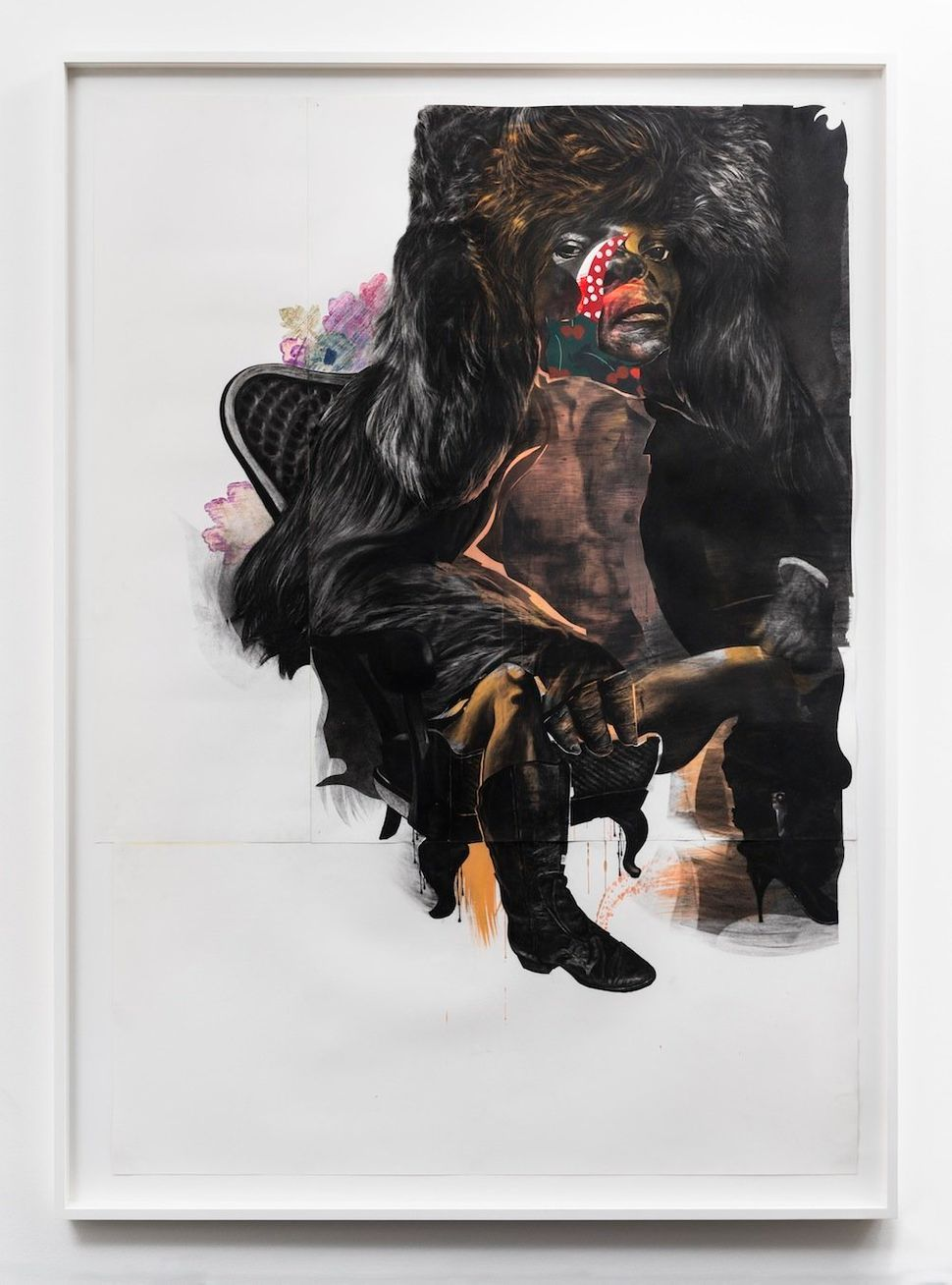 King Kong Ain't Got Nothing On Me, 2013 black charcoal, gouache, oil pastel on Coventry vellum paper 219.7 cm x 156.2 cm (86-
