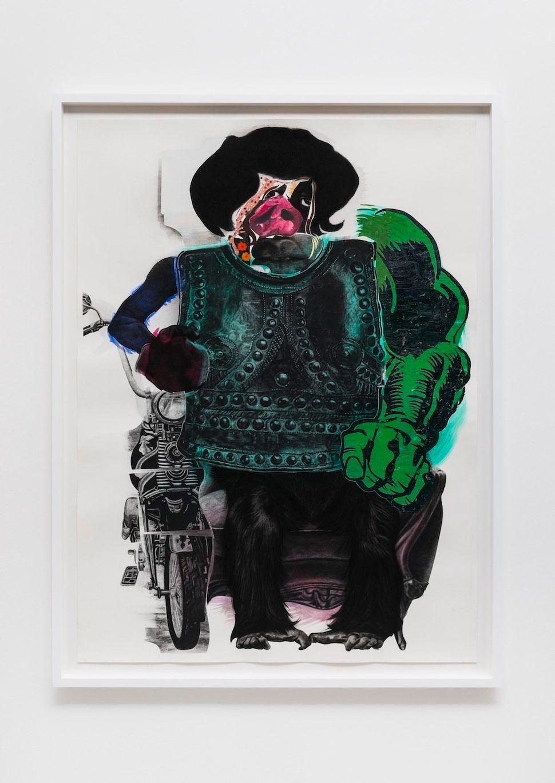 """Motorcyle Pig, 2014 black charcoal, oil-pastel, oil-paint, paint-stick, gouache on Lenox Paper 152.4 cm x 111.8 cm (60"""" x 44"""""""