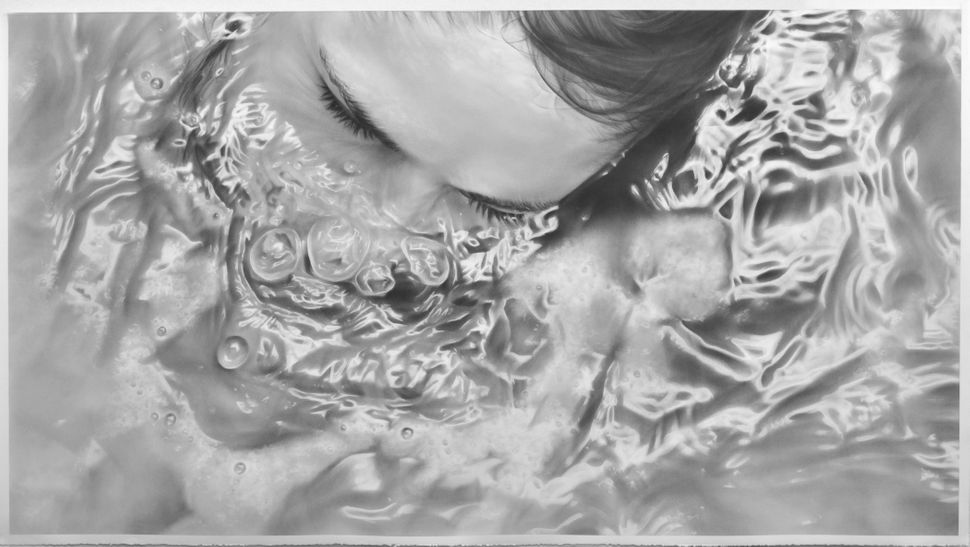 """Submerge"", 50"" x 90"", graphite on paper"