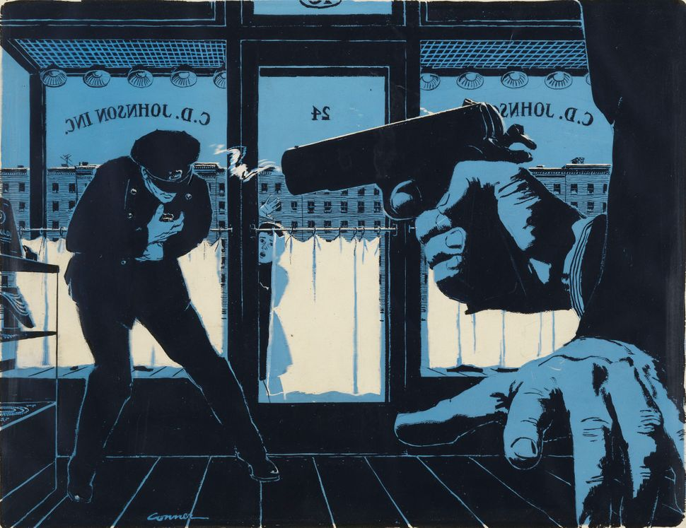 """Illustration for """"Killer in the Club Car"""" in This Week Magazine, November 14, 1954. Ink and acetate on illustration board.  ©"""