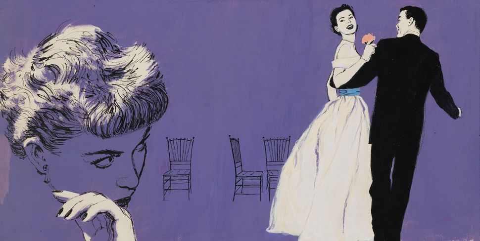 """Illustration for """"The Trouble With Love"""" in Good Housekeeping, August 1952. Gouache on illustration board. © Mac Conner. Cour"""
