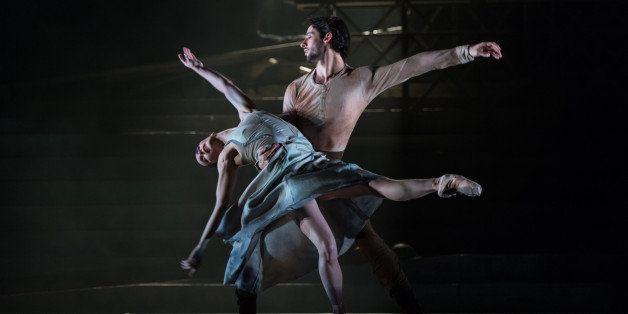 LONDON, ENGLAND - APRIL 01: Tamara Rojo and Esteban Berlanga perform on stage during a dress rehearsal of the English Nationa