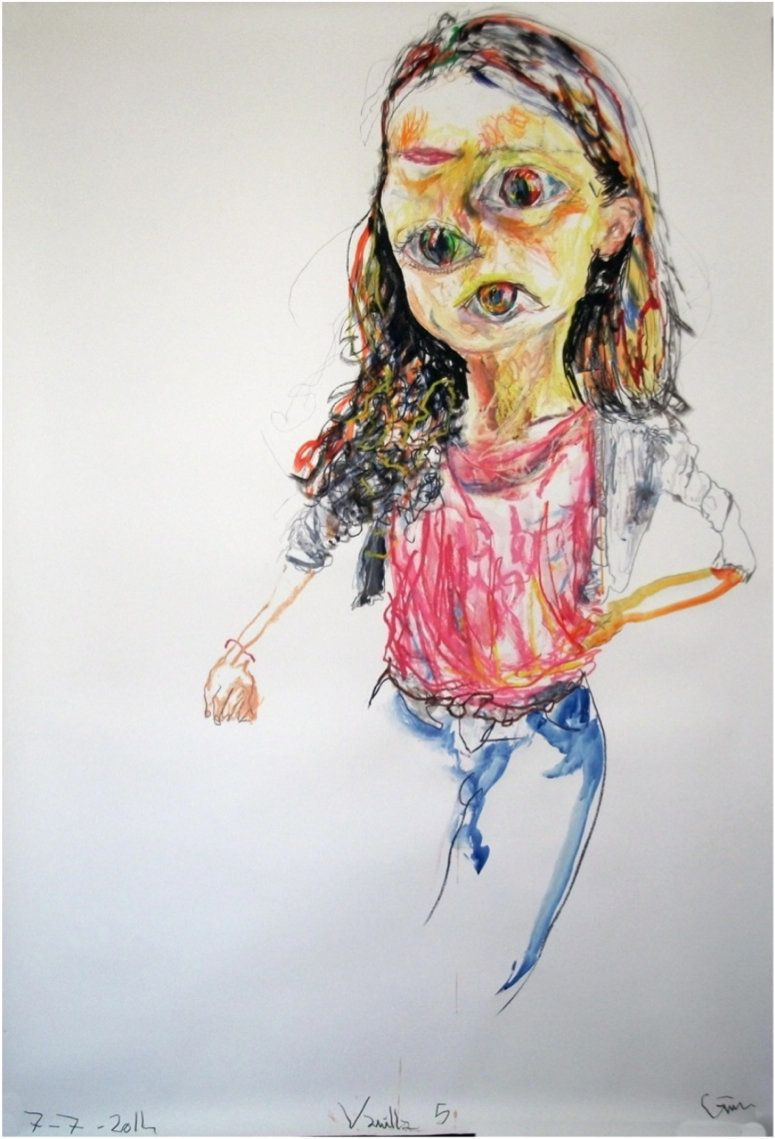 Portrait Vanilla 5, 07.07.2014 Mixed media on paper 93 x 61.5 x 2.5 inches / 236.2 x 156.2 x 6.4 cm Courtesy of the artistfro