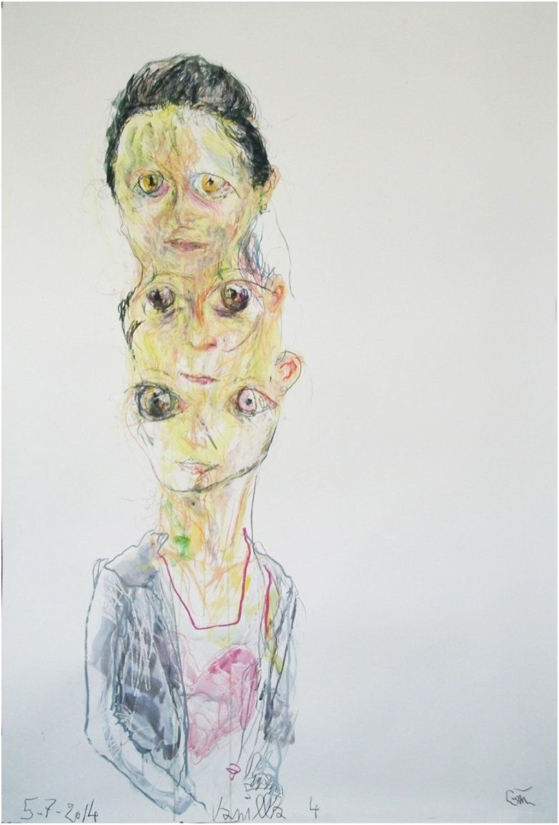 Portrait Vanilla 4, 05.07.2014 Mixed media on paper 93 x 61.5 x 2.5 inches / 236.2 x 156.2 x 6.4 cm Courtesy of the artist
