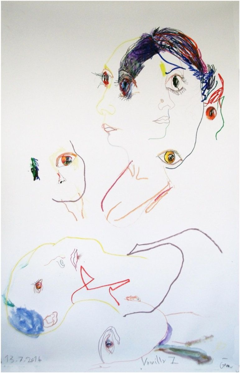 Portrait Vanilla 7, 13.07.2014 Mixed media on paper 93 x 61.5 x 2.5 inches / 236.2 x 156.2 x 6.4 cm Courtesy of the artist